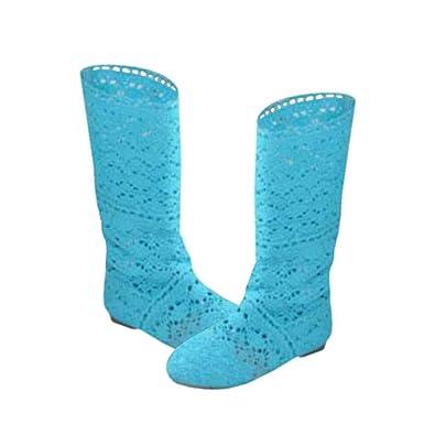 quality design 3e5f6 adc3e Yying Damen Sommer Stiefel Stiefeletten Flach Stickerei Hohe Stiefel, Sexy  Mesh Schlupfstiefel, Slip-On Schuhe Boots