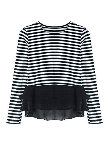 PERSUN Striped Sleeve Peplum Blouse