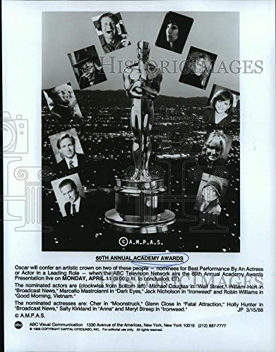 Historic Images - 1988 Vintage Press Photo Nominees for Best Actor and Actress at the 60th Academy Awards.