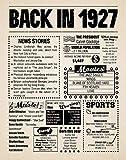 8x10 1927 Birthday Gift // Back in 1927 Newspaper