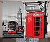 Ambesonne London Curtains, London Telephone Booth in The Street Traditional Local Cultural Icon England UK Retro, Living Room Bedroom Window Drapes 2 Panel Set, 108 W X 90 L Inches, Red Grey
