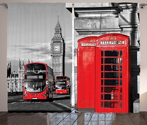 London Decor Curtains 2 Panel Set by Ambesonne, London Telephone Booth in the Street Traditional Local Cultural Icon England Uk Retro Print, Living Room Bedroom Decor, 108 W X 84 L Inches, Red Grey