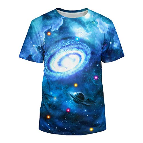 Kayolece Unisex 3D Realistic Printed Nebula Clutter Galaxy Short Sleeve Shirts M -