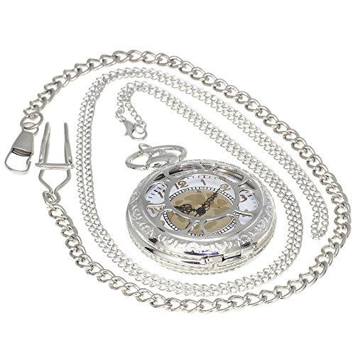 Silver Vintage Skeleton Carving Sunflower Pattern Brass Antique Case Pocket Watch Open Face Fob for Men Women 1 PC Necklace 1 PC Clip Key Rib Chain (Face Pocket Watch Timepiece)