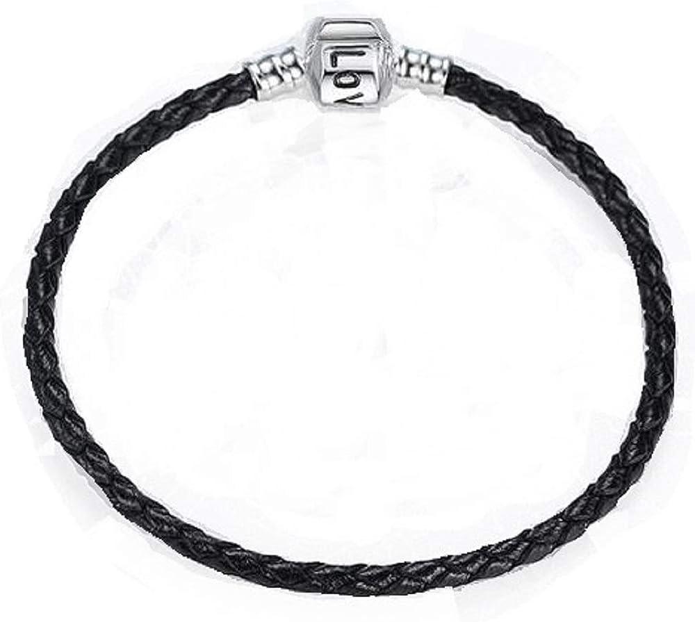 WAY2BB Bracelet en cuir tr/éss/é pour charms 20cm