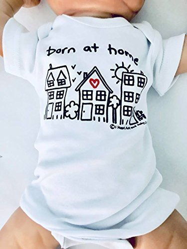 Newborn Born at Home Outfit, Home Birth Baby, Unisex Born at Home Shirt, Birth Announcement Outfit, Crunchy Mom Gift, Short Sleeve, White, up to 12.5 lbs
