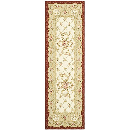 Safavieh Chelsea Collection HK73A Hand-Hooked Ivory and Burgundy Premium Wool Runner (2'6