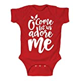 O' Come Let Us Adore Me Funny Infant Snap Christmas Bodysuit, Red - Newborn offers