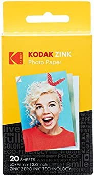 Papel fotográfico premium Zink da Kodak de 5 x 7,6 cm (20 folhas) compatível com Kodak Smile, Kodak Step, PRIN