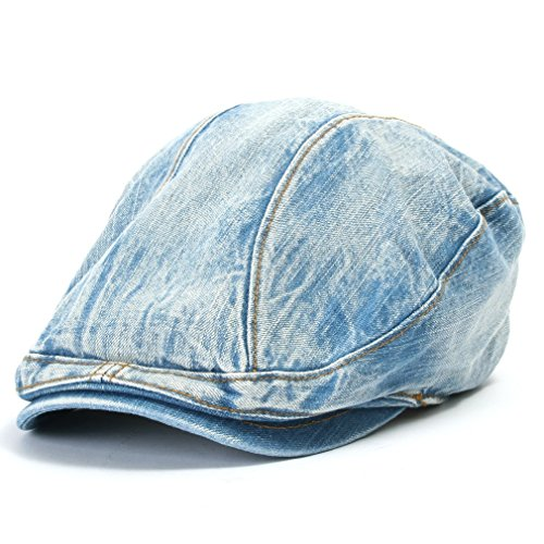 ililily Denim Newsboy Flat Cap Gatsby Caps ivy Irish Cabbie Hats Driver Hunting Hat (flatcap-514-3) (Waxed Cotton Irish Cap compare prices)