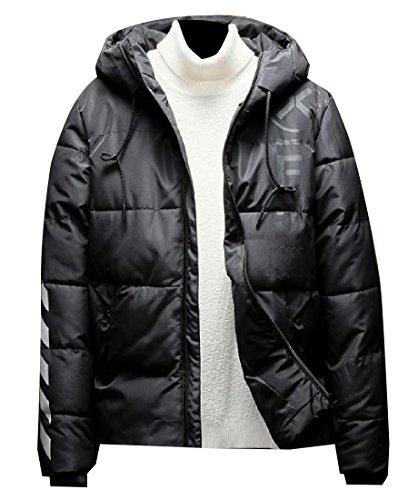 Anorak with Jacket Black Men Colored Zip Hood Solid Thicken Warm RkBaoye up t6qazvxwx