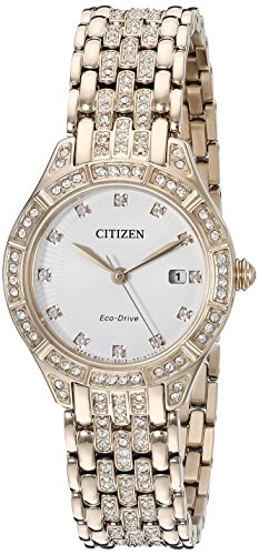 Citizen Eco-Drive Women's 'Silhouette' Quartz Stainless Steel Casual Watch, Color: Rose Gold-Toned (Model: EW2323-57A)