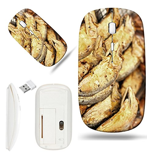 Luxlady Wireless Mouse White Base Travel 2.4G Wireless Mice with USB Receiver, 1000 DPI for notebook, pc, laptop, computer, macdesign IMAGE ID 26148005 Fried mackerel at - Mackerel Fried