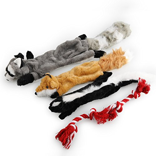 60%OFF 5 Pack Dog Squeaky Chew Toys No Stuffing Dog Toys with 100% Natural Cotton Rope for Small Medium Large Dog Pets Toys