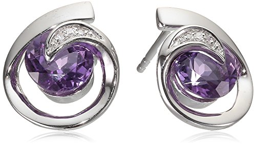 Sterling Silver Amethyst and Diamond Accent Scroll Stud Earrings