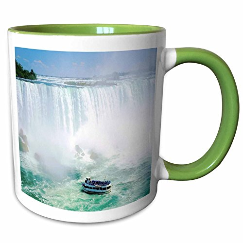 3dRose Florene Water Landscape - Maid Of The Mist Boat Under Niagra Falls - 11oz Two-Tone Green Mug - Falls Outlets Niagra