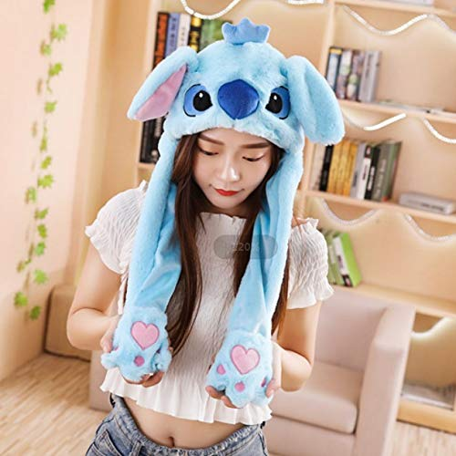 Solazi Ear Moving Hat - Moving Ear Animal Plush Hat Ear Up Down Rabbit Dog Pig Gift Toy for Kids Girls - Stitch - Kid White Monkey Dance Moves Baby Boys Controllable Blue Pink That Unicorn