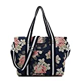 canvaslife Classic White Rose Pattern Waterproof Laptop Tote Bag Canvas Laptop Shoulder Messenger Bag Case Sleeve for 14 Inch 15 Inch Laptop MacBook Pro 15 Case Laptop Briefcase 15.6 Inch