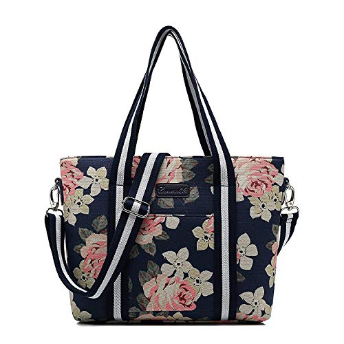 canvaslife Classic White Rose Pattern Waterproof Laptop Tote