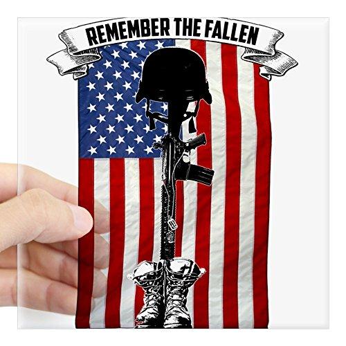 Fallen Sticker (CafePress - OPSGEAR Remember The Fallen USA - Square Bumper Sticker Car Decal, 3