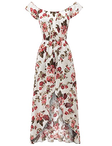 82323a7e58e Milumia Women s Off Shoulder Floral Bardot Longline Bohemian Split ...