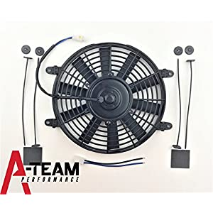 "A-Team Performance 150051 10"" HIGH PERFORMANCE 850 CFM 12V ELECTRIC RADIATOR COOLING FAN - REVERSABLE FLAT BLADE 10 BLADE"