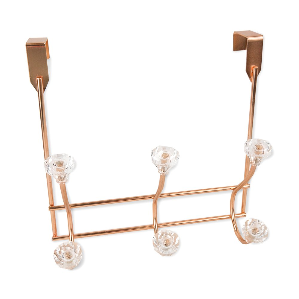 Gold, 3 Hook HDS Trading Corp DH41582 Home Basics Over The Door Hanging Rack Hooks with Crystal Knobs