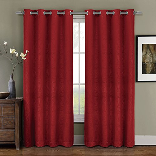 Deluxe Energy Efficient & Room Darkening. Pair of Two Top Grommet Blackout Weave Embossed Curtain Panel, Triple-Pass Foam Back Layer, Elegant and Contemporary Prairie Blackout Panel, Red, 84
