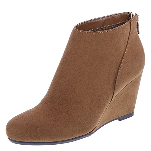 Fioni Cognac Suede Women's Missy Wedge Boots 9 Regular