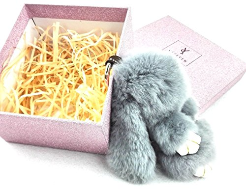 YISEVEN Stuffed Bunny Keychain Toy - Soft and Fuzzy Large Stitch Plush Rabbit Fur Key Chain - Cute Fluffy Bunnies Floppy Furry Animal Doll Gift for Girl Women Purse Bag Car Charm - Light Gray by YISEVEN (Image #5)