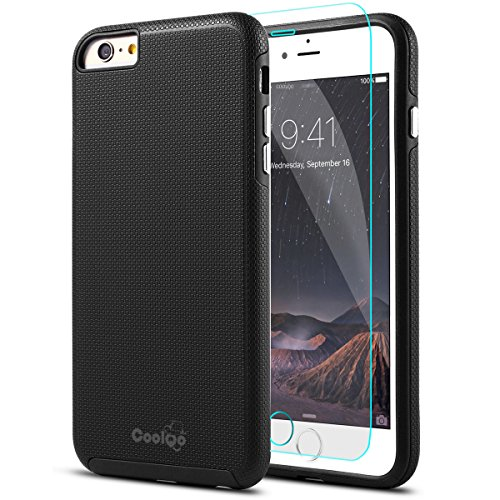 iPhone 6S Plus Case, iPhone 6 Plus Case, COOLQO TPU Bumper + Hard PC Shell + Tempered Glass Screen Protector Hybrid Shockproof Defender Dual Cover & Skin for Apple iPhone 6S Plus 5.5 (Black)