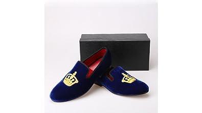 6386c12c0c0 Resso Roth Men Blue Velvet Crown Slippers Slip-on Loafers Shoes (8)