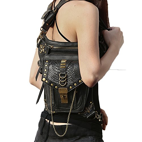 Leather Studded Plates - steel master Victorian Retro Shoulder Waist Bags Steampunk Goth PU Leather Leg Thigh Holster Bags