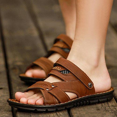 Xing Lin Sandalias De Hombre Verano Hombre De Sandalias, Sandalias, Pies, Zapatillas De Playa Casual, Transpirable, Anti Resbaladizo, Cool, Cool, Cool Zapatillas Y Doble Uso De Verano Dark brown