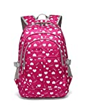 Hearts Print Girls Preschool Backpacks For Kindergarten Kids Little Girls School Bags(Small,Rose Red)