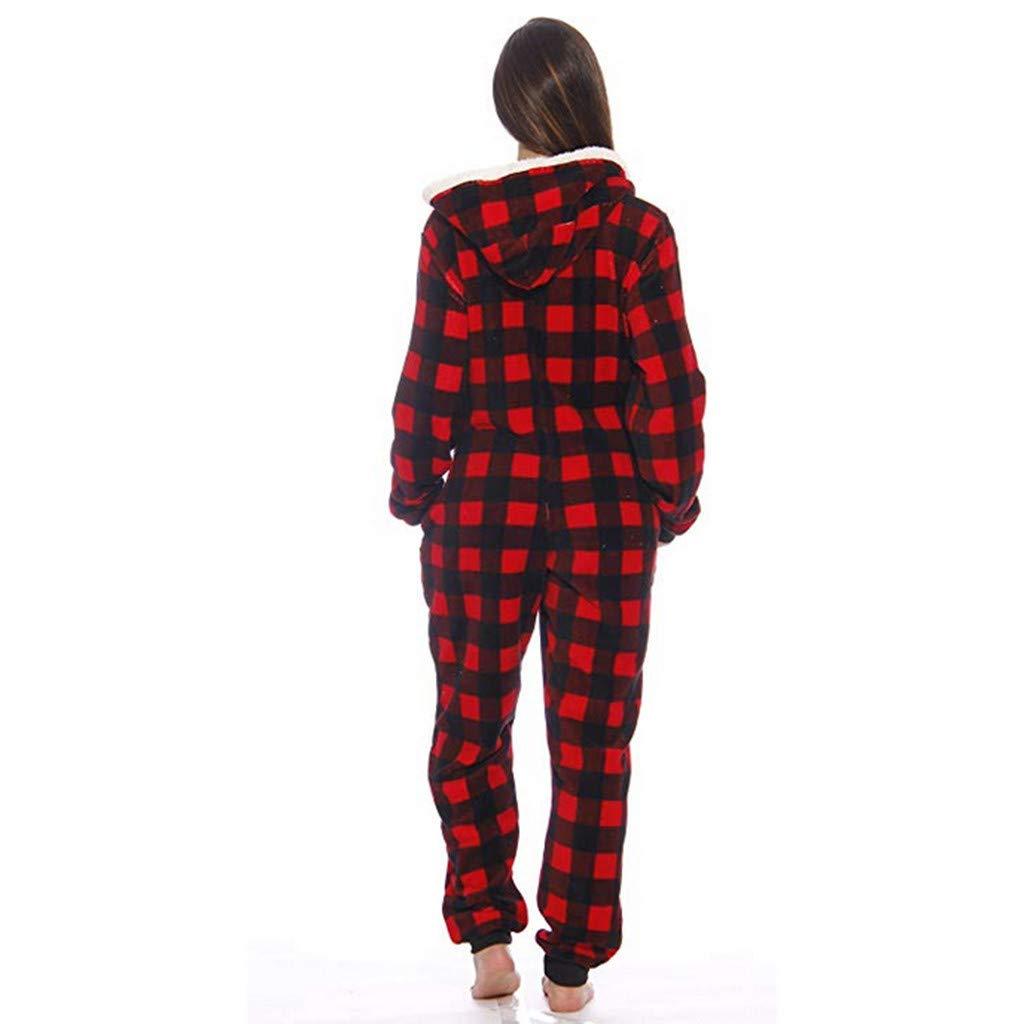 Womens Fleece Onesie Hooded Zip Up One Piece Pajamas Sleepwear Warm Long Sleeve Loose Plaid Tracksuit Holiday Homewear (Red, M) by Hotcl (Image #2)