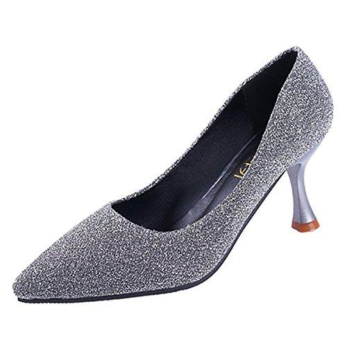 DIMAOL Chaussures Femmes de Réconfort Printemps PU Talon Aiguille Talons Chaussures Occasionnels Pour L'Or Noir Argent,Argent,US8.5/EU39/UK6.5/CN40