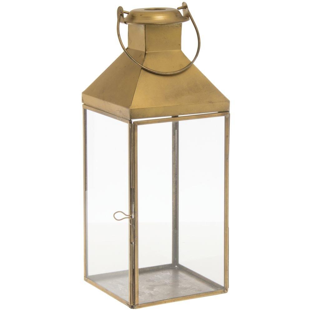 Lantern Gold Metal - 5 1/2'' L x 5 1/2'' W x 14'' H