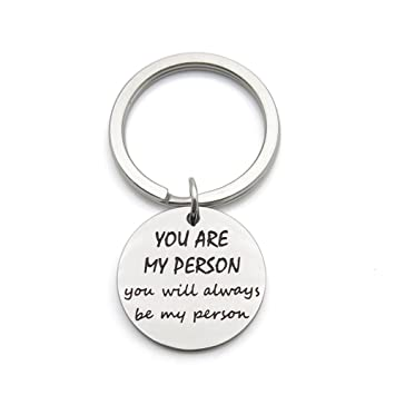You are My Person You Will Always Be My Person Best Friends Gift Stainless Steel Pendant Keychain Key Ring