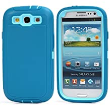MOONCASE Galaxy S3 Case, 3 Layers Heavy Duty Defender Hybrid Soft TPU +PC Bumper Triple Shockproof Drop Resistance Protective Case Cover for Samsung Galaxy S3 I9300 -Teal