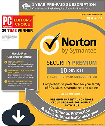Norton Security Premium – 10 Devices, 1 Year Pre-Paid Subscription, Renews automatically for uninterrupted protection [PC/Mac/Mobile Download] from Symantec
