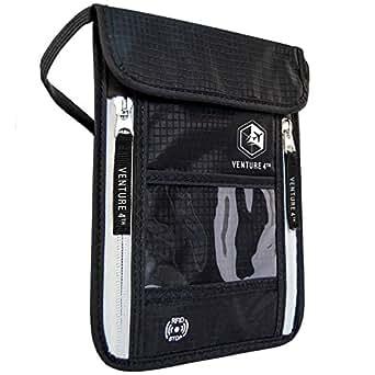 Venture 4th Passport Holder Neck Pouch With RFID Blocking – Concealed Passport Wallet (Black)