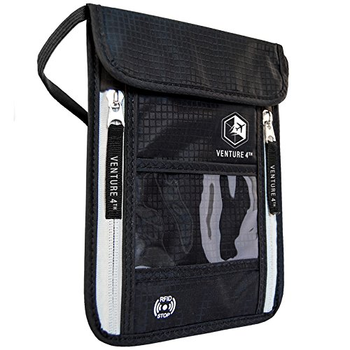Travel Neck Pouch Neck Wallet Stash with RFID Blocking – Passport Holder