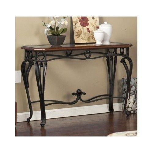 Wildon Home Prentice Console Table This Beautiful Antique Style Table Will Look Great In Any Room Guaranteed. This Decorative Glass Top Table Will Look Great In Your Foyer Or Entryway. This Versatile (Dark Cherry) (Metal Foyer Table)
