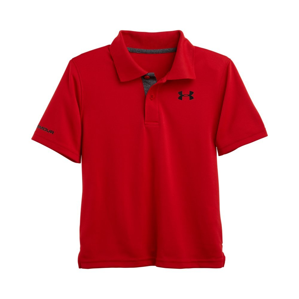 Under Armour Little Boys' Ua Logo Short Sleeve Polo, Red, 7 by Under Armour