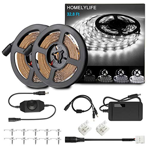 HOMELYLIFE Dimmable LED Strip Lights, 32.8ft 6500K Daylight White Light Strip Kit, 600 LEDs SMD2835 Non-Waterproof 12V LED Vanity Mirror Light, Under Cabinet Lighting Strips, UL Listed Power Supply