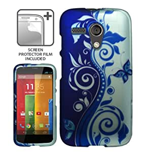 MOTOROLA MOTO G BLUE SILVER FLOWER VINE SNAP ON COVER HARD PROTECTOR CASE + SCREEN PROTECTOR from PREFERRED FASHION NETWORK