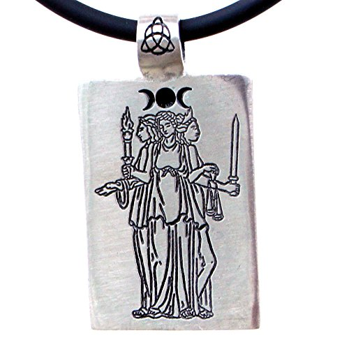 Triple Hecate Hekate Hecat Greek Goddess Pewter Pendant W Black PVC Cord