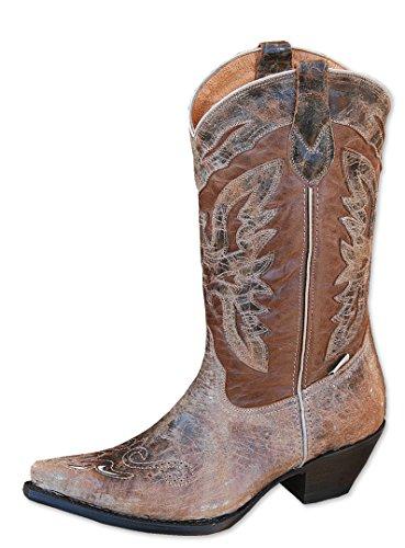 Stars & Stripes Vrouwen-westerse Laarzen Wbl-24 - Cowboy Laarzen Of Cowboy Laarzen En Biker Boots Westerse Laarzen Laarsjes Bruin Voor Vrouwen Of Dames