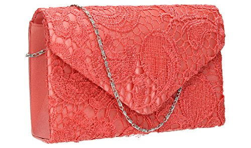 Womens Party Holly Blue Coral Wedding Lace Clutch Bridal Envelope Bag Pink Prom Navy EtEBwxgfrq